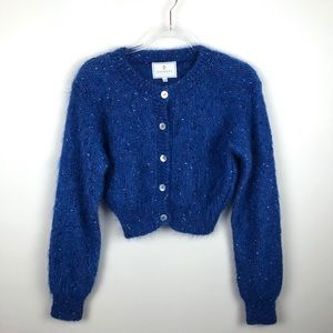 Vintage Express Tricot Fuzzy Cropped Cardigan Med